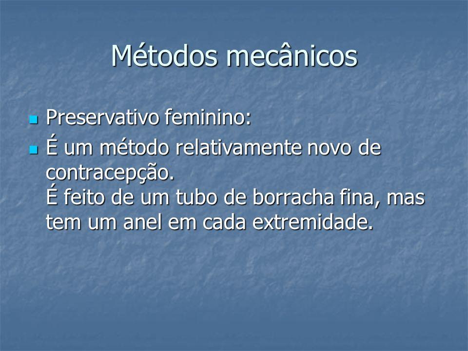 Métodos mecânicos Preservativo feminino: