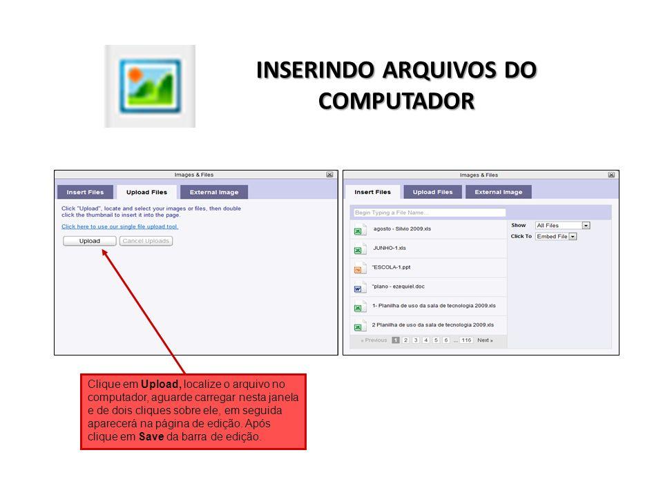 INSERINDO ARQUIVOS DO COMPUTADOR