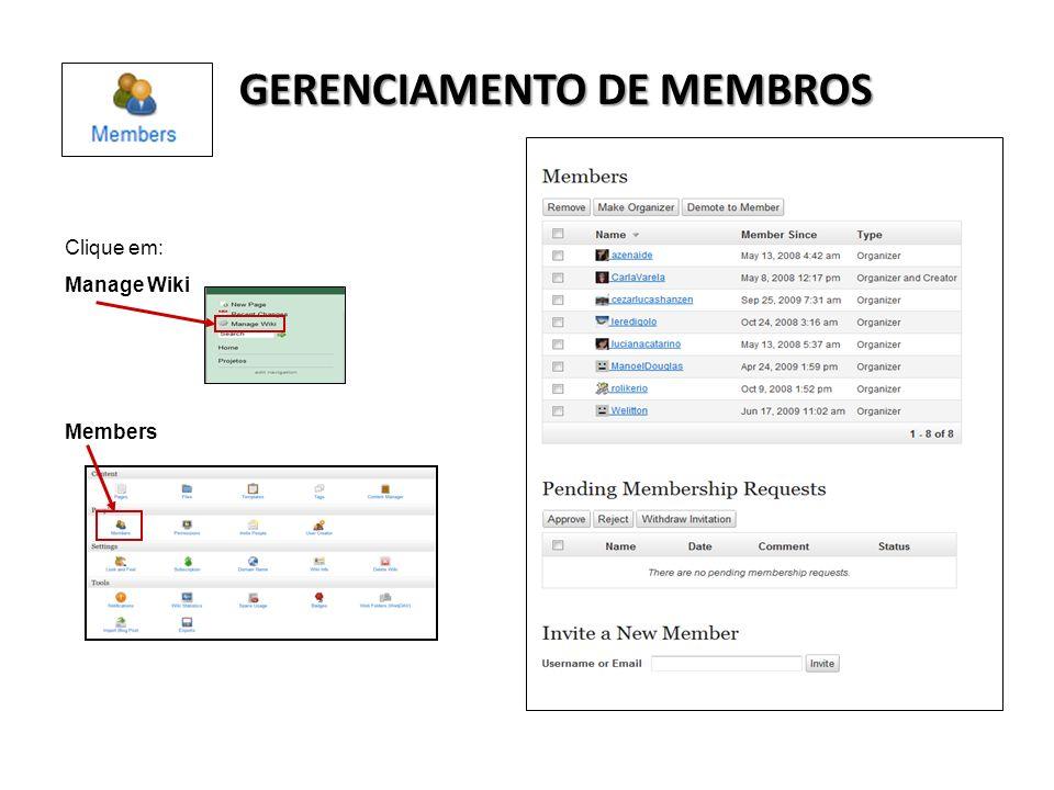 GERENCIAMENTO DE MEMBROS