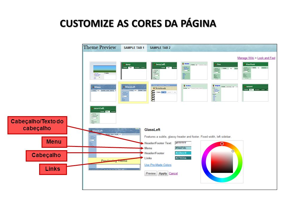 CUSTOMIZE AS CORES DA PÁGINA