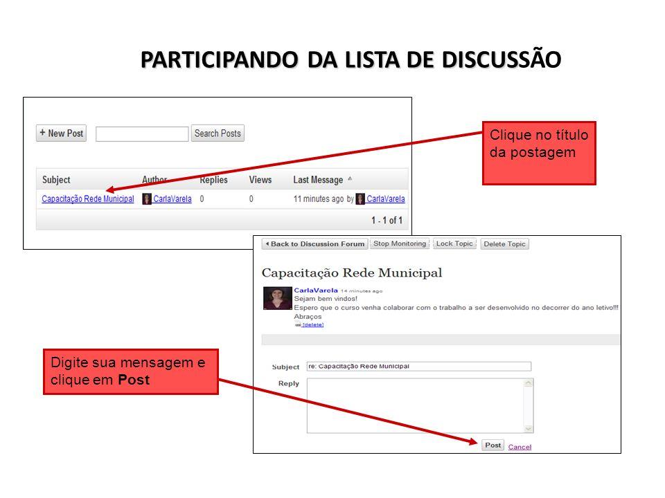 PARTICIPANDO DA LISTA DE DISCUSSÃO