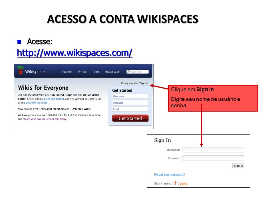 ACESSO A CONTA WIKISPACES