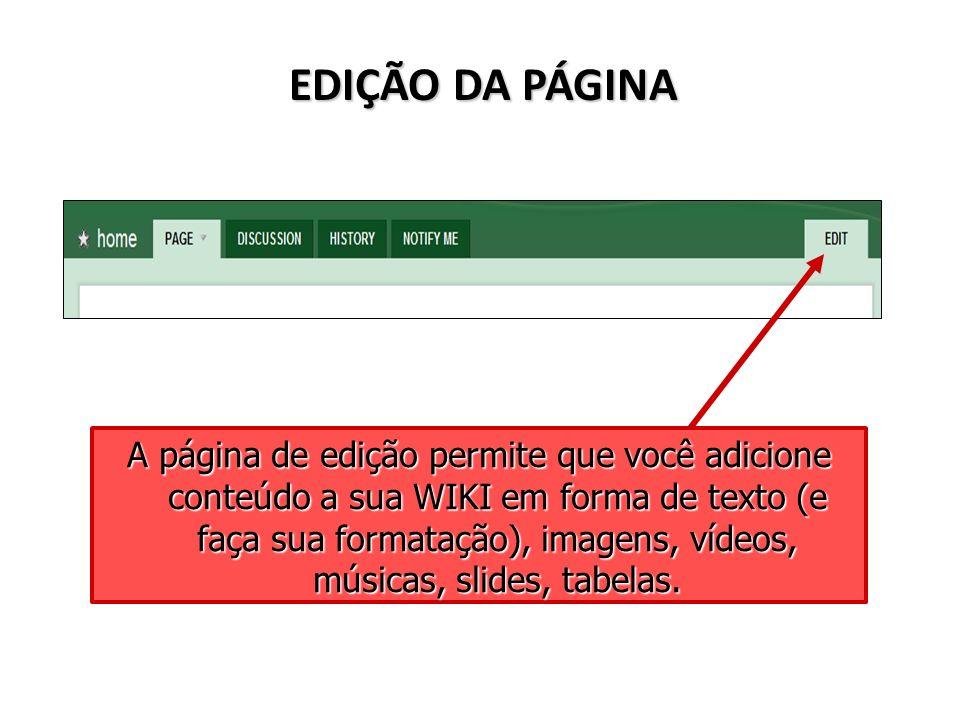 EDIÇÃO DA PÁGINA