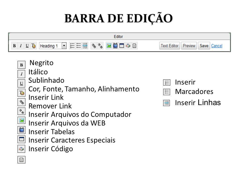 BARRA DE EDIÇÃO Negrito Itálico Sublinhado