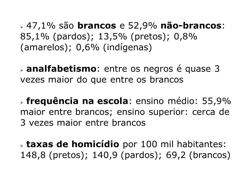 47,1% são brancos e 52,9% não-brancos: 85,1% (pardos); 13,5% (pretos); 0,8% (amarelos); 0,6% (indígenas)
