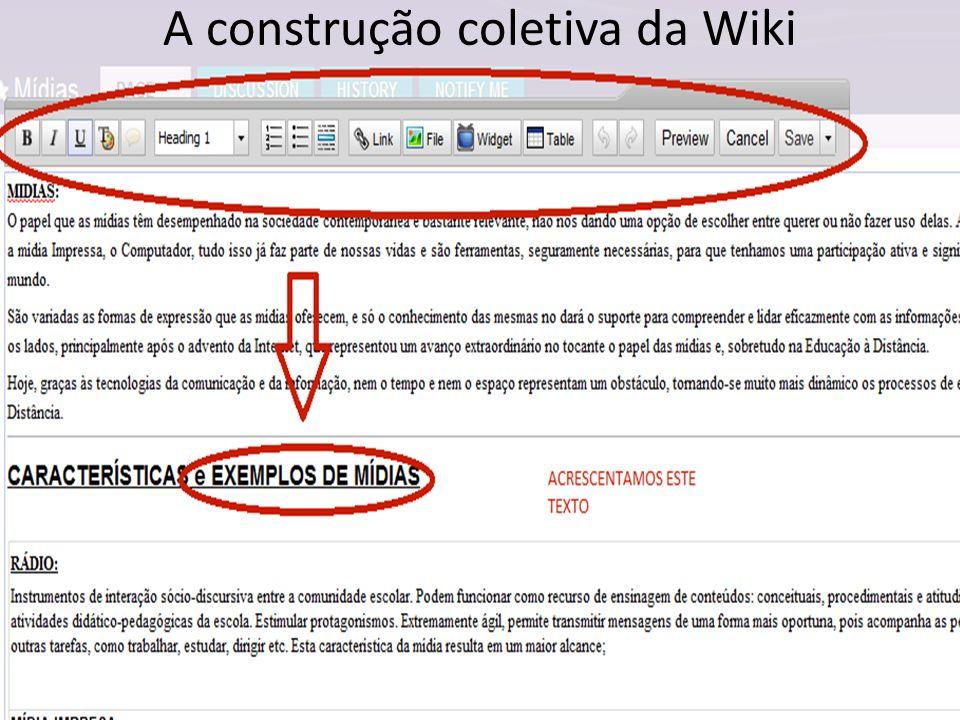 A construção coletiva da Wiki
