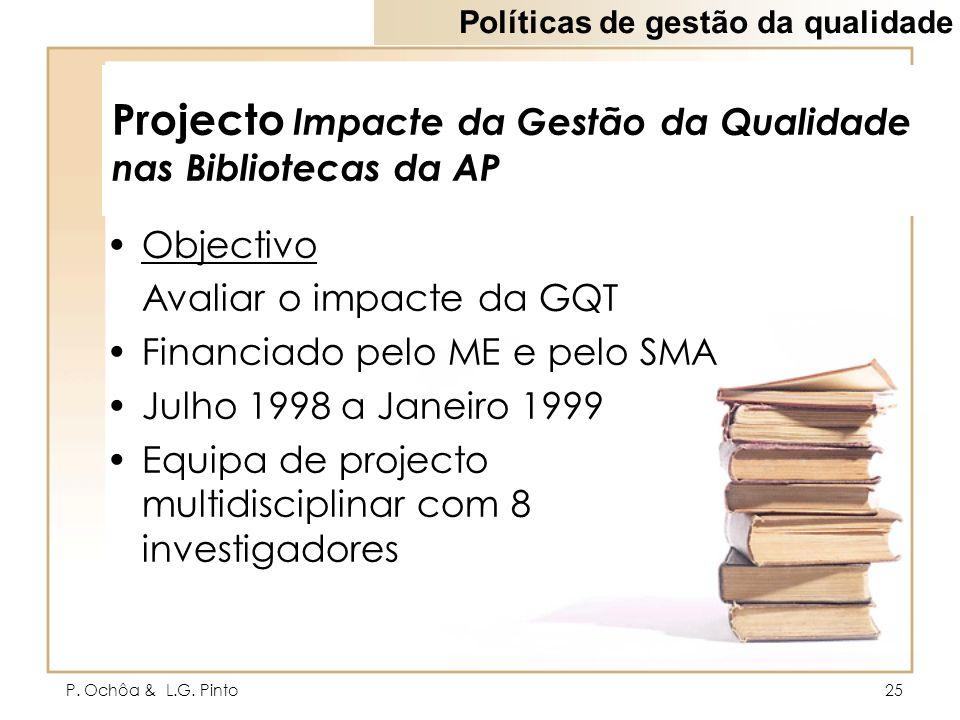 Projecto Impacte da Gestão da Qualidade nas Bibliotecas da AP