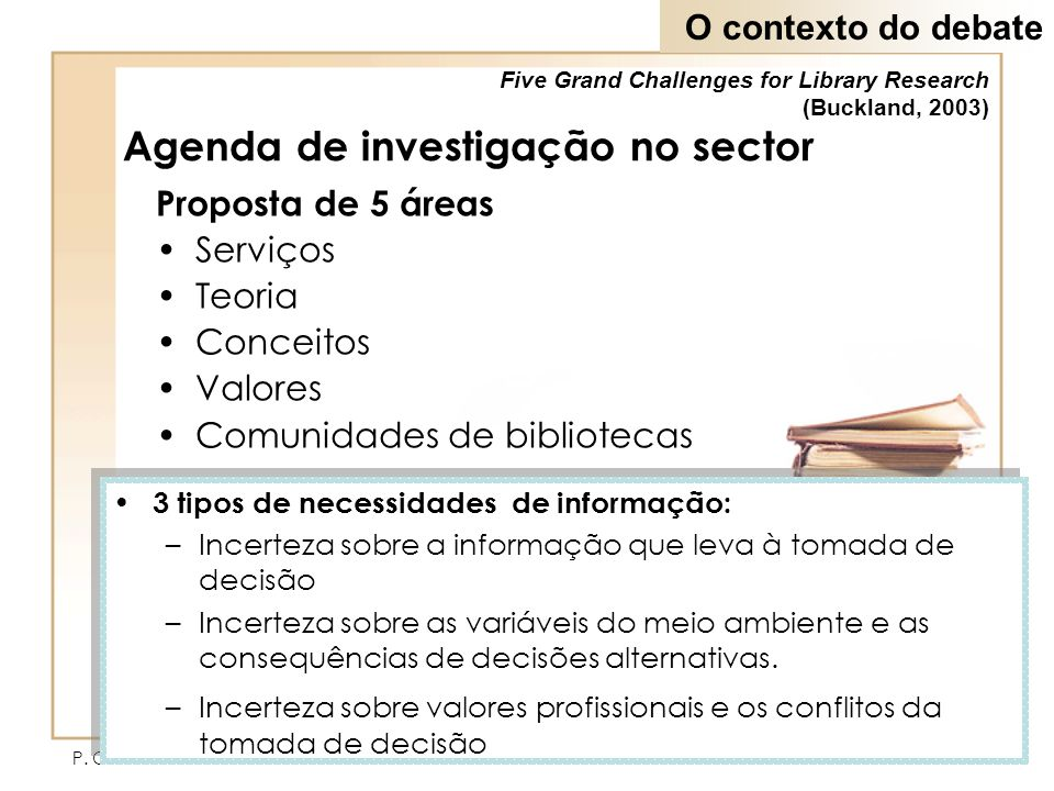 Agenda de investigação no sector