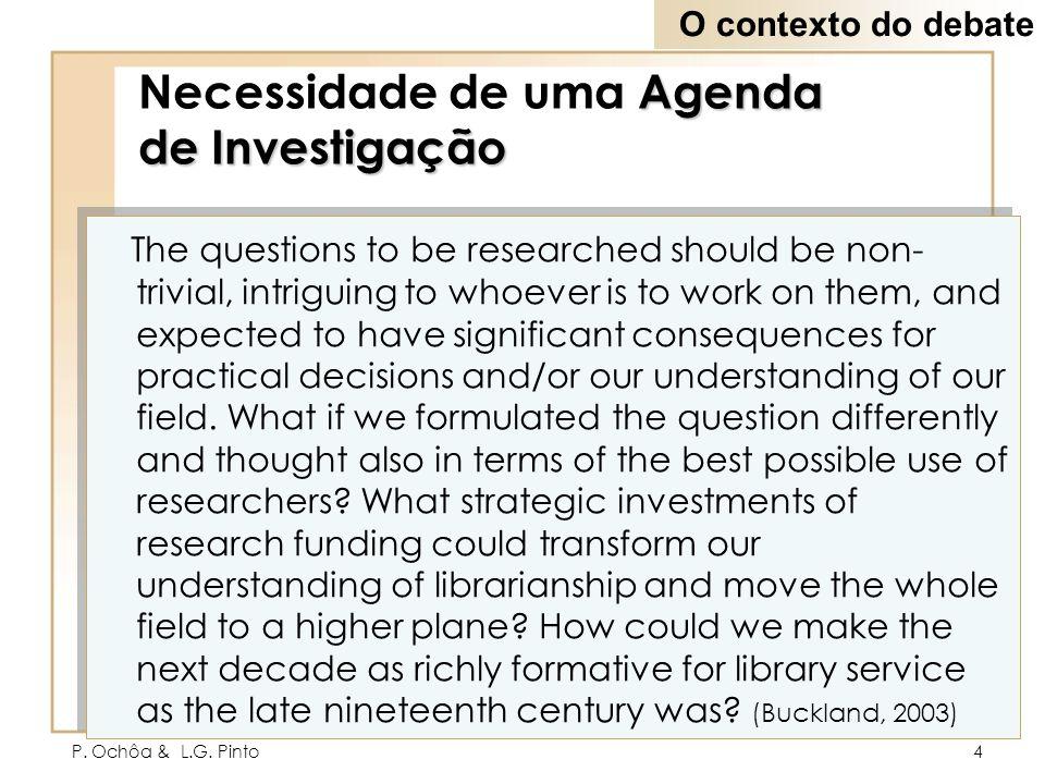 Necessidade de uma Agenda de Investigação