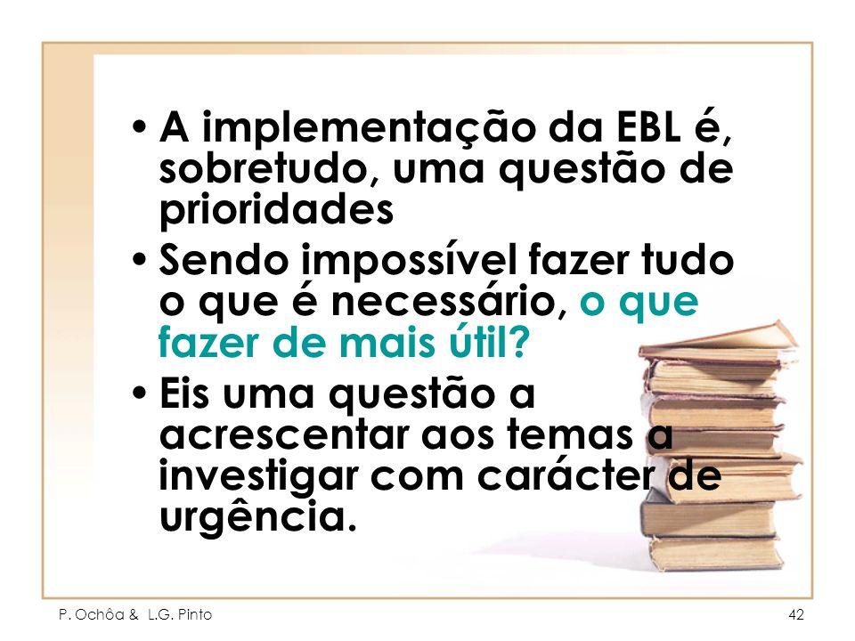 A implementação da EBL é, sobretudo, uma questão de prioridades