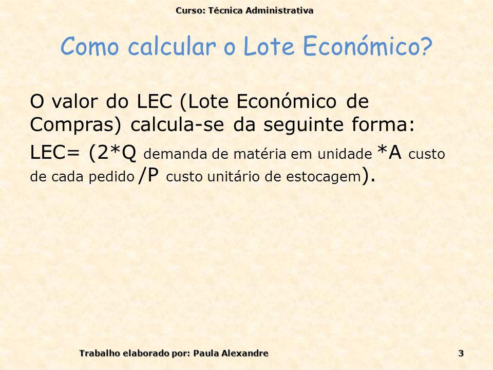 Como calcular o Lote Económico