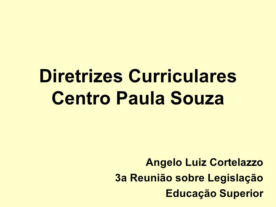 Diretrizes Curriculares Centro Paula Souza
