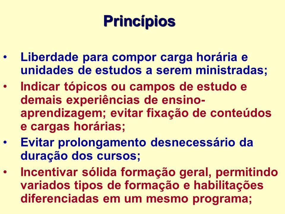 Princípios Liberdade para compor carga horária e unidades de estudos a serem ministradas;