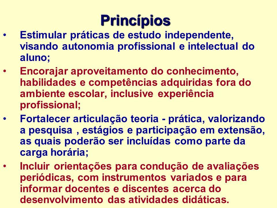 Princípios Estimular práticas de estudo independente, visando autonomia profissional e intelectual do aluno;