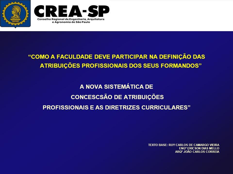 CONCESCSÃO DE ATRIBUIÇÕES PROFISSIONAIS E AS DIRETRIZES CURRICULARES