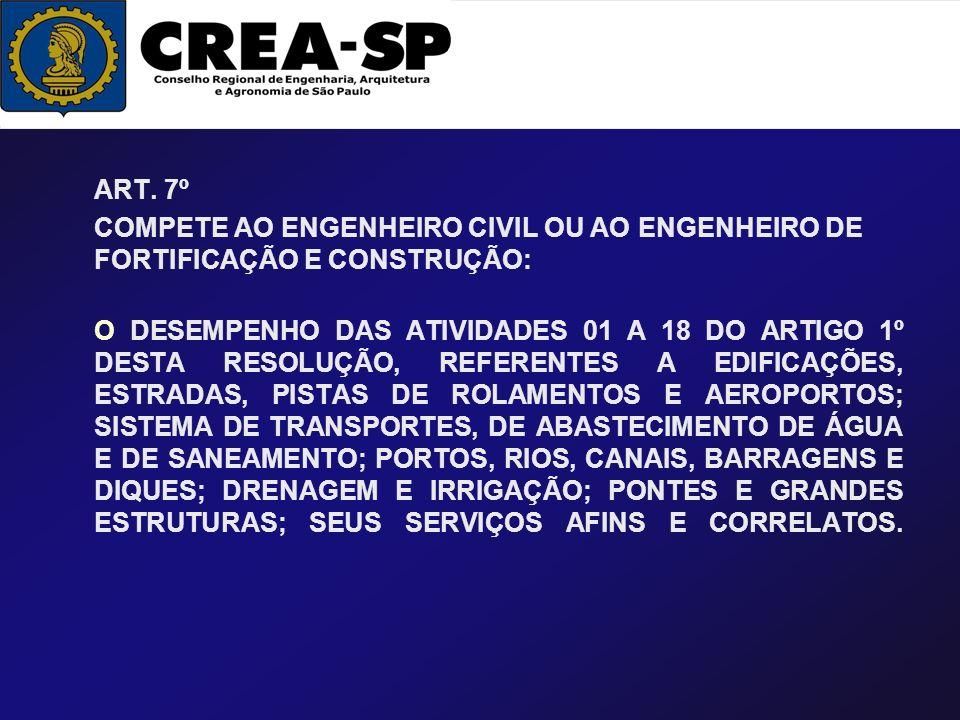 ART. 7º COMPETE AO ENGENHEIRO CIVIL OU AO ENGENHEIRO DE FORTIFICAÇÃO E CONSTRUÇÃO: