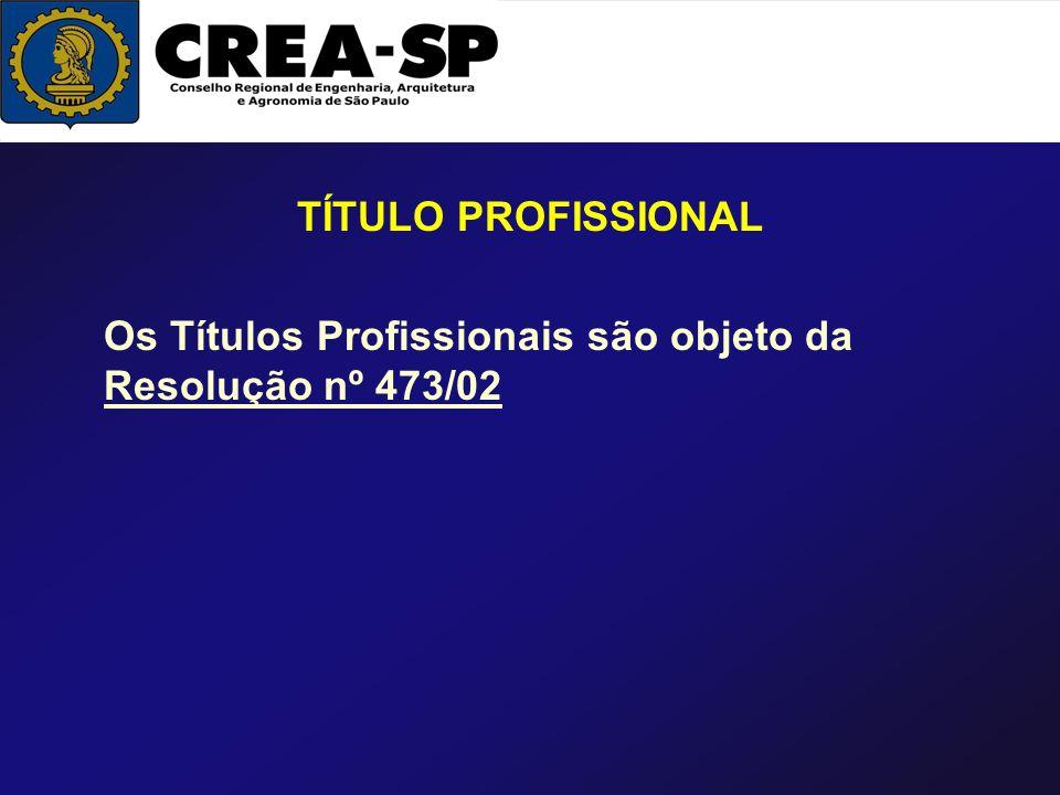TÍTULO PROFISSIONAL Os Títulos Profissionais são objeto da Resolução nº 473/02