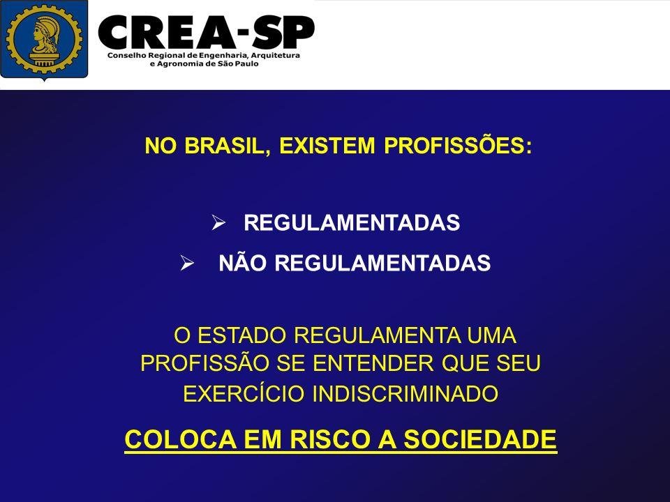 NO BRASIL, EXISTEM PROFISSÕES: COLOCA EM RISCO A SOCIEDADE