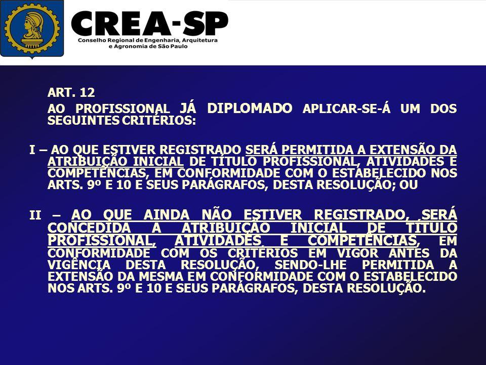 ART. 12 AO PROFISSIONAL JÁ DIPLOMADO APLICAR-SE-Á UM DOS SEGUINTES CRITÉRIOS:
