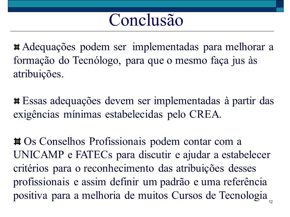 Conclusão Adequações podem ser implementadas para melhorar a formação do Tecnólogo, para que o mesmo faça jus às atribuições.