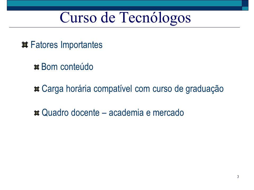 Curso de Tecnólogos Fatores Importantes Bom conteúdo
