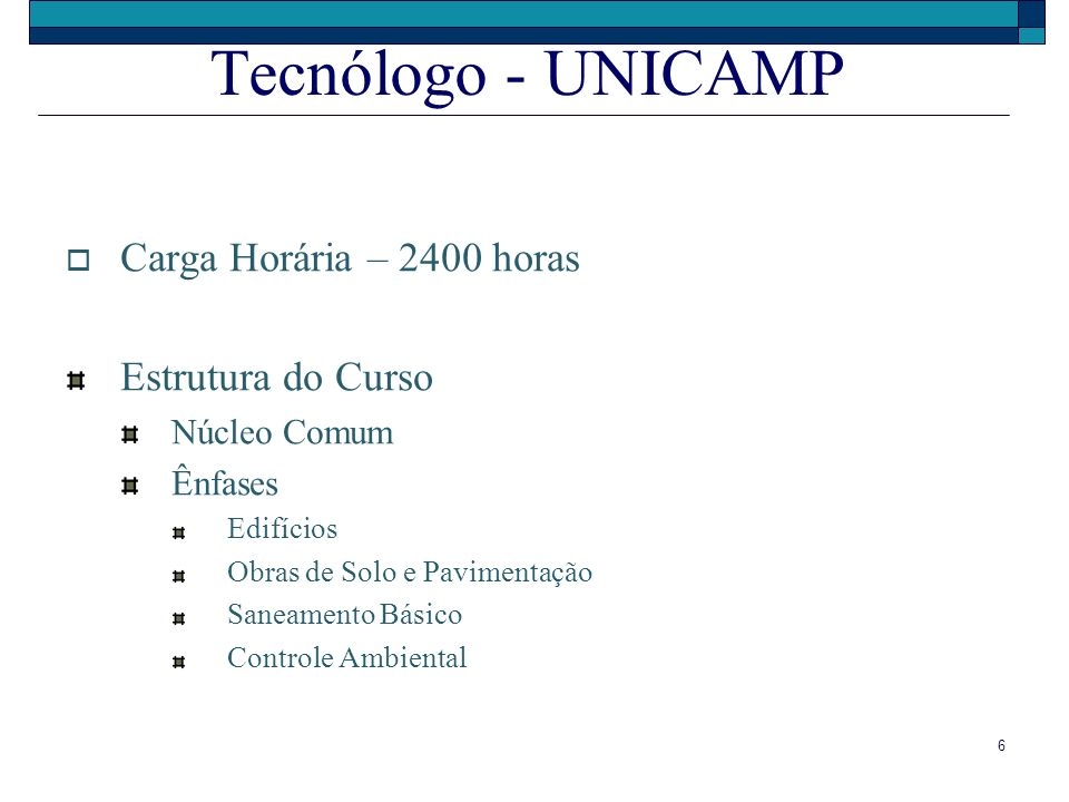 Tecnólogo - UNICAMP Carga Horária – 2400 horas Estrutura do Curso