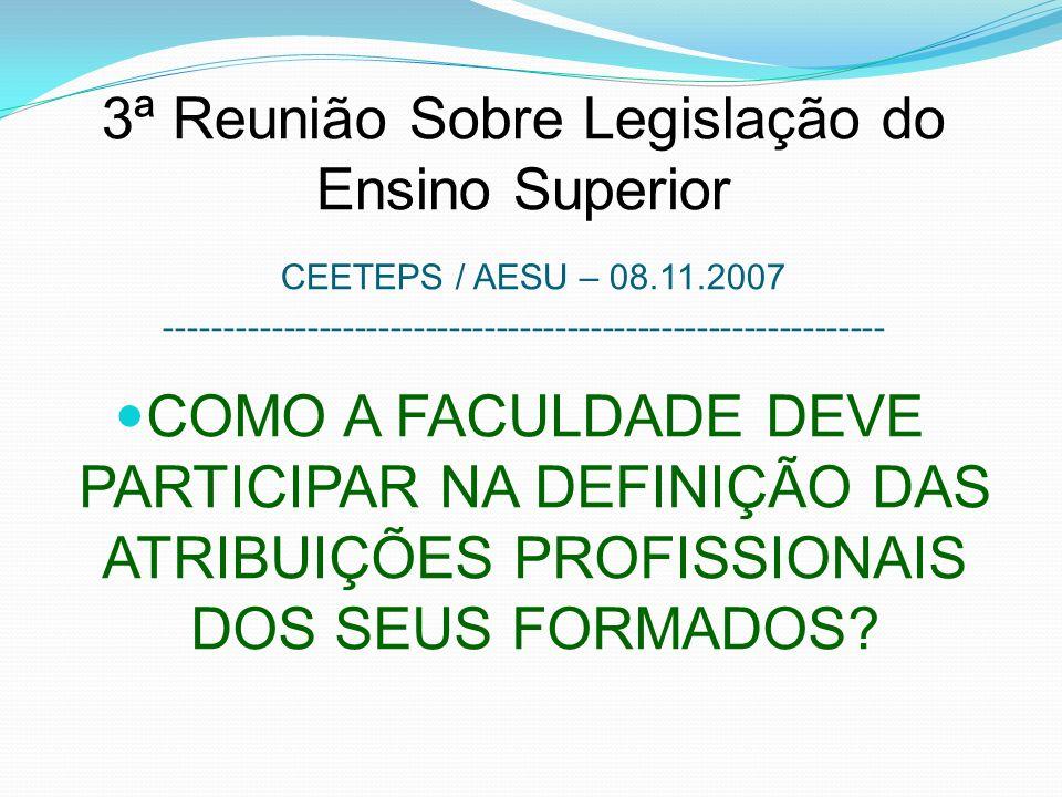 3ª Reunião Sobre Legislação do Ensino Superior CEETEPS / AESU – 08. 11