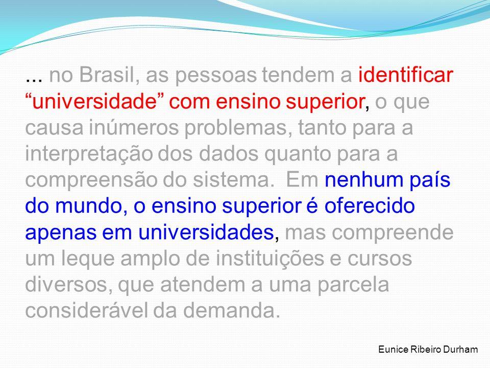 ... no Brasil, as pessoas tendem a identificar universidade com ensino superior, o que causa inúmeros problemas, tanto para a interpretação dos dados quanto para a compreensão do sistema. Em nenhum país do mundo, o ensino superior é oferecido apenas em universidades, mas compreende um leque amplo de instituições e cursos diversos, que atendem a uma parcela considerável da demanda.