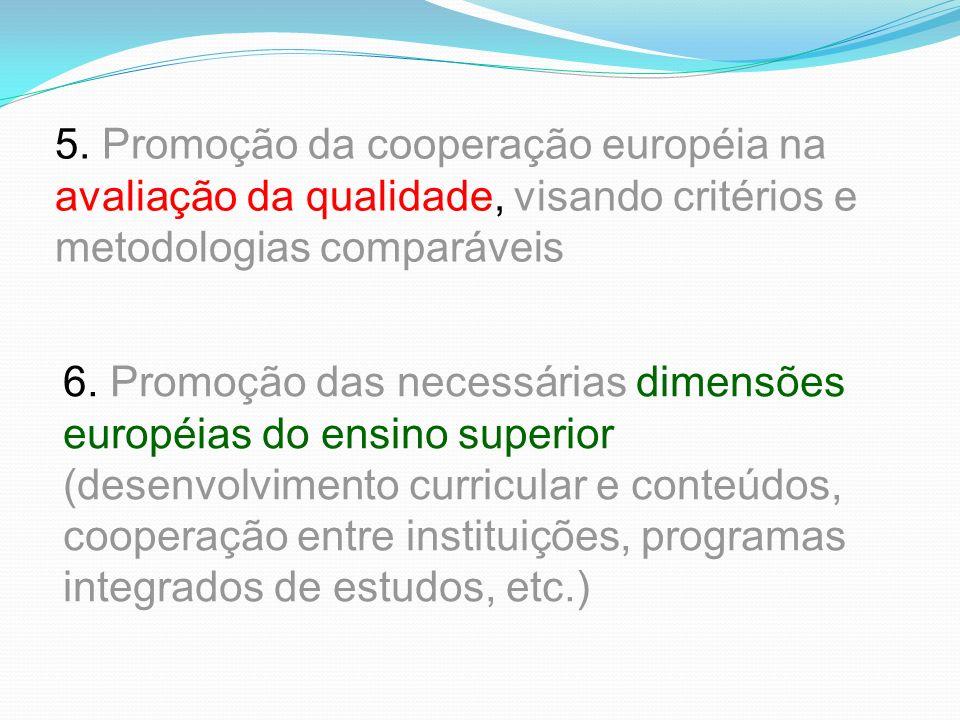 5. Promoção da cooperação européia na avaliação da qualidade, visando critérios e metodologias comparáveis