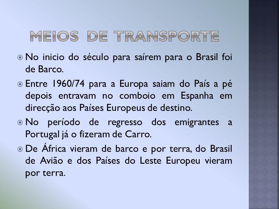 Meios de Transporte No inicio do século para saírem para o Brasil foi de Barco.