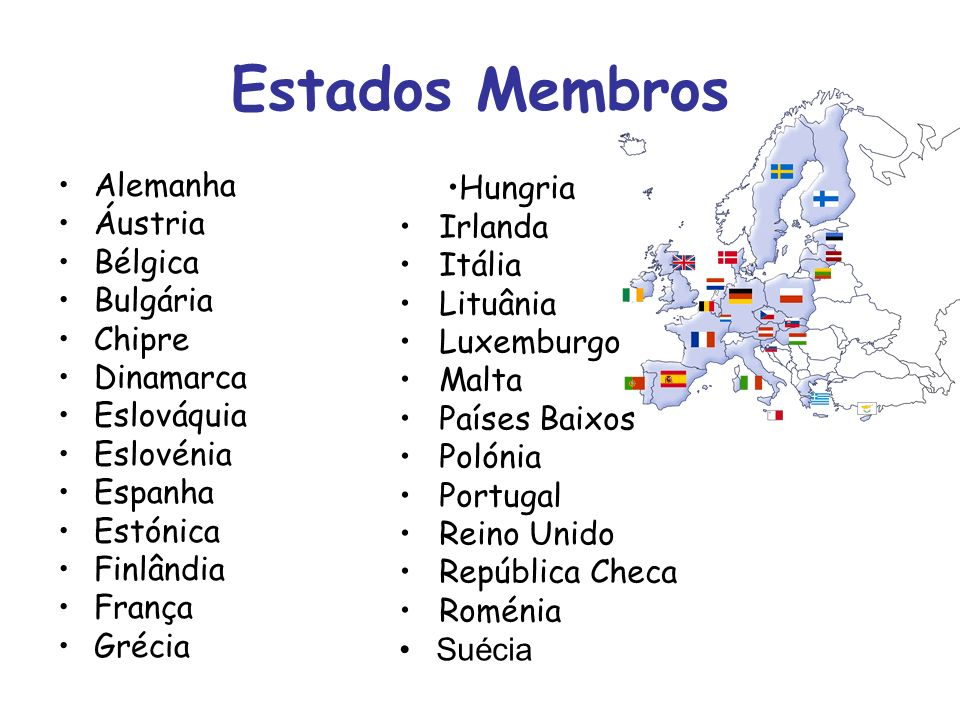 Estados Membros Alemanha Áustria Bélgica Bulgária Chipre Dinamarca