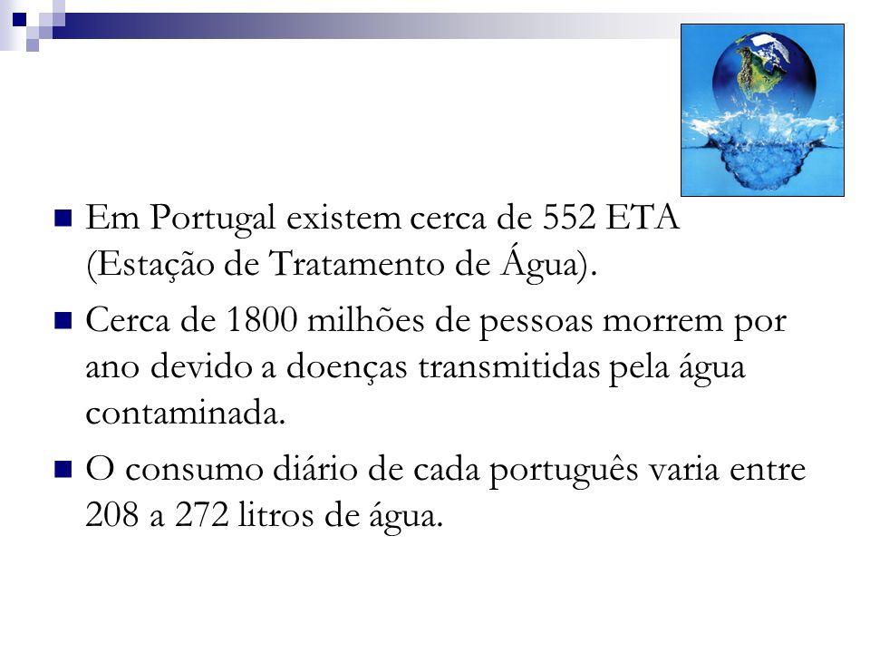 Em Portugal existem cerca de 552 ETA (Estação de Tratamento de Água).