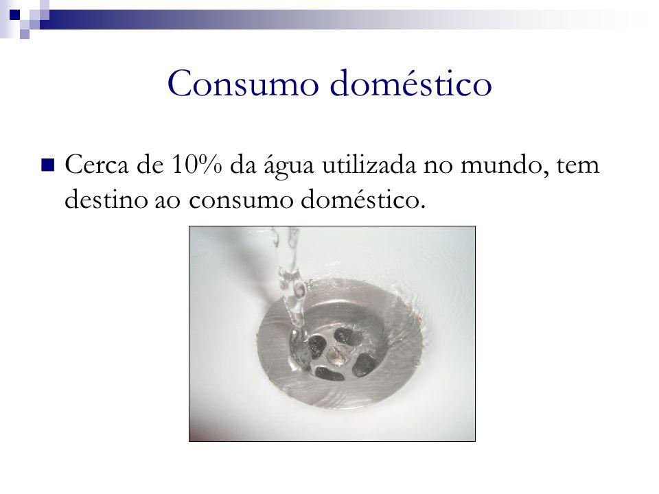 Consumo doméstico Cerca de 10% da água utilizada no mundo, tem destino ao consumo doméstico. a