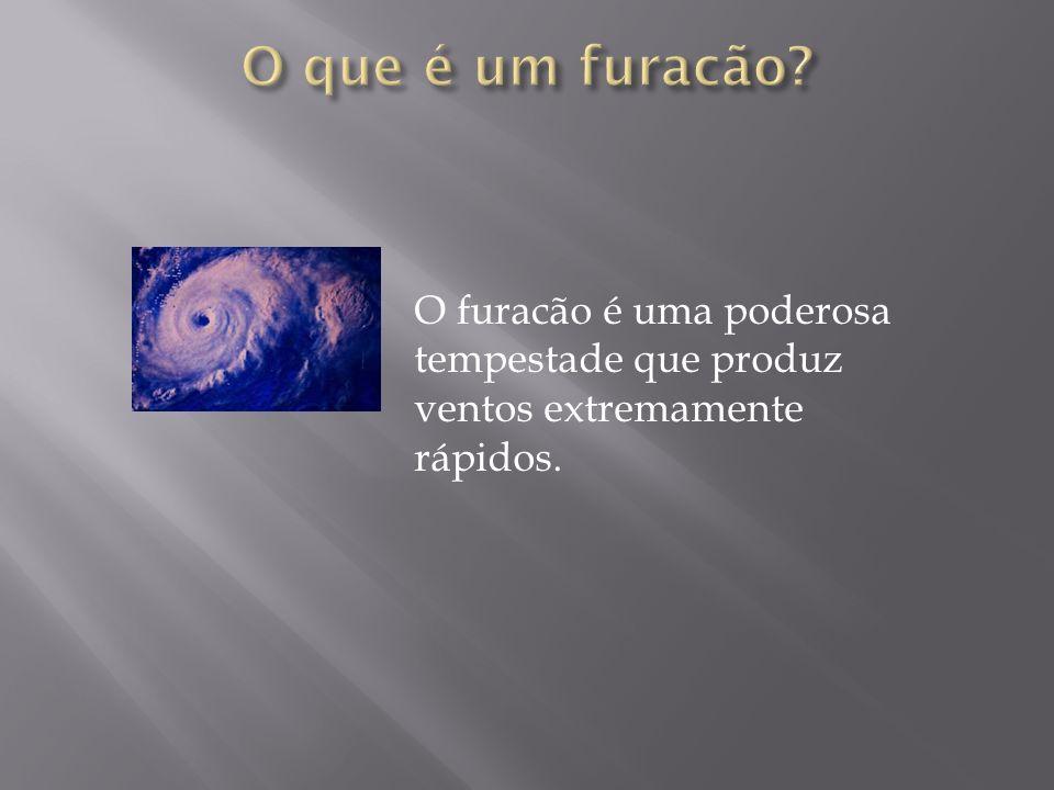 O que é um furacão O furacão é uma poderosa tempestade que produz ventos extremamente rápidos.