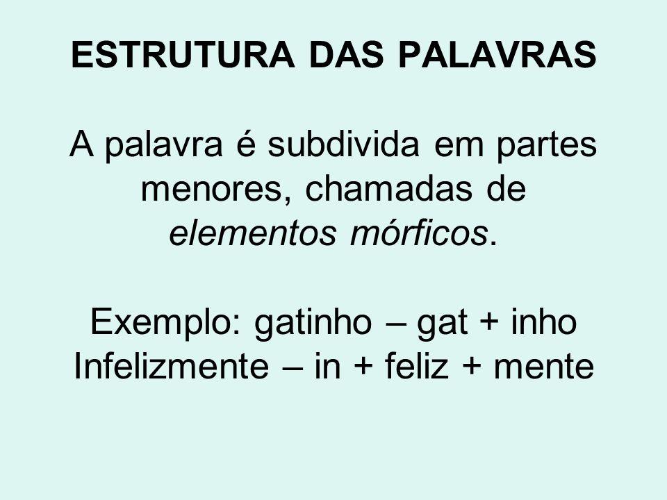 ESTRUTURA DAS PALAVRAS A palavra é subdivida em partes menores, chamadas de elementos mórficos.