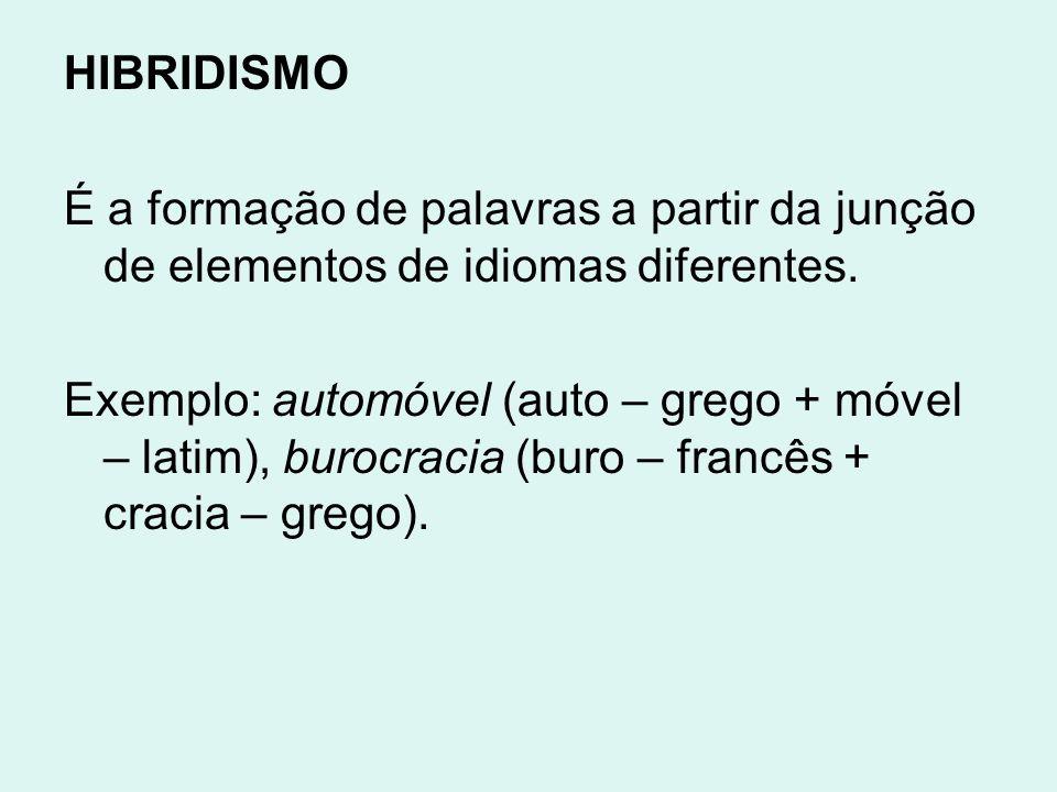 HIBRIDISMO É a formação de palavras a partir da junção de elementos de idiomas diferentes.