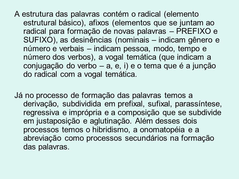 A estrutura das palavras contém o radical (elemento estrutural básico), afixos (elementos que se juntam ao radical para formação de novas palavras – PREFIXO e SUFIXO), as desinências (nominais – indicam gênero e número e verbais – indicam pessoa, modo, tempo e número dos verbos), a vogal temática (que indicam a conjugação do verbo – a, e, i) e o tema que é a junção do radical com a vogal temática.