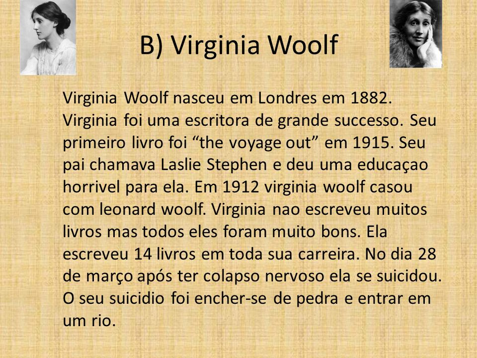 B) Virginia Woolf