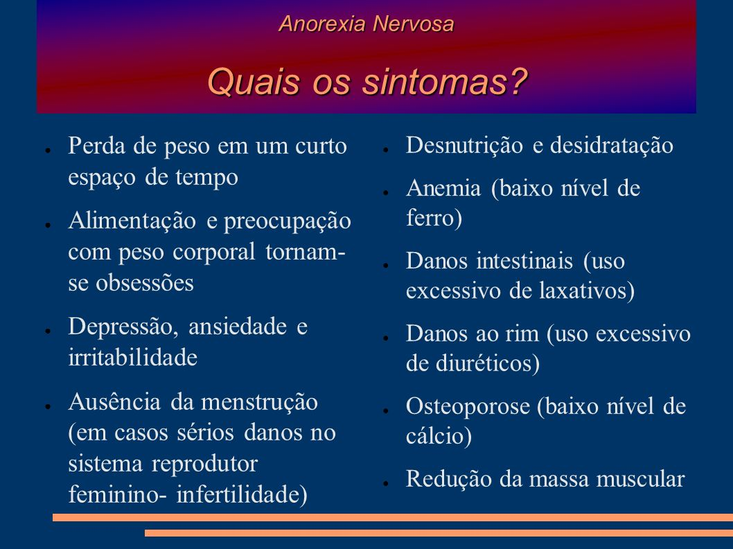 Anorexia Nervosa Quais os sintomas