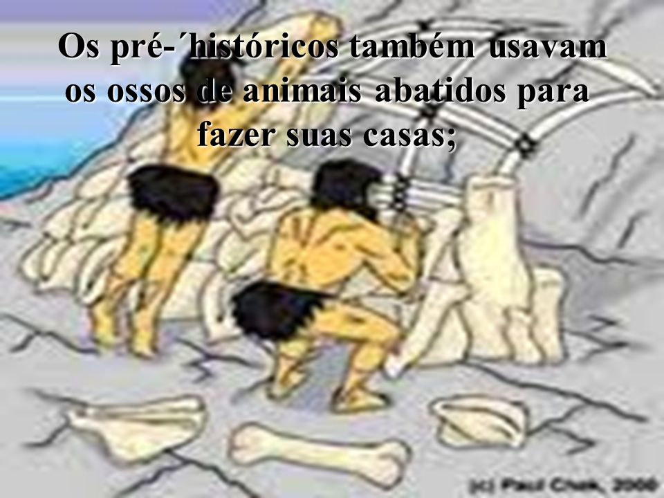 Os pré-´históricos também usavam os ossos de animais abatidos para fazer suas casas;