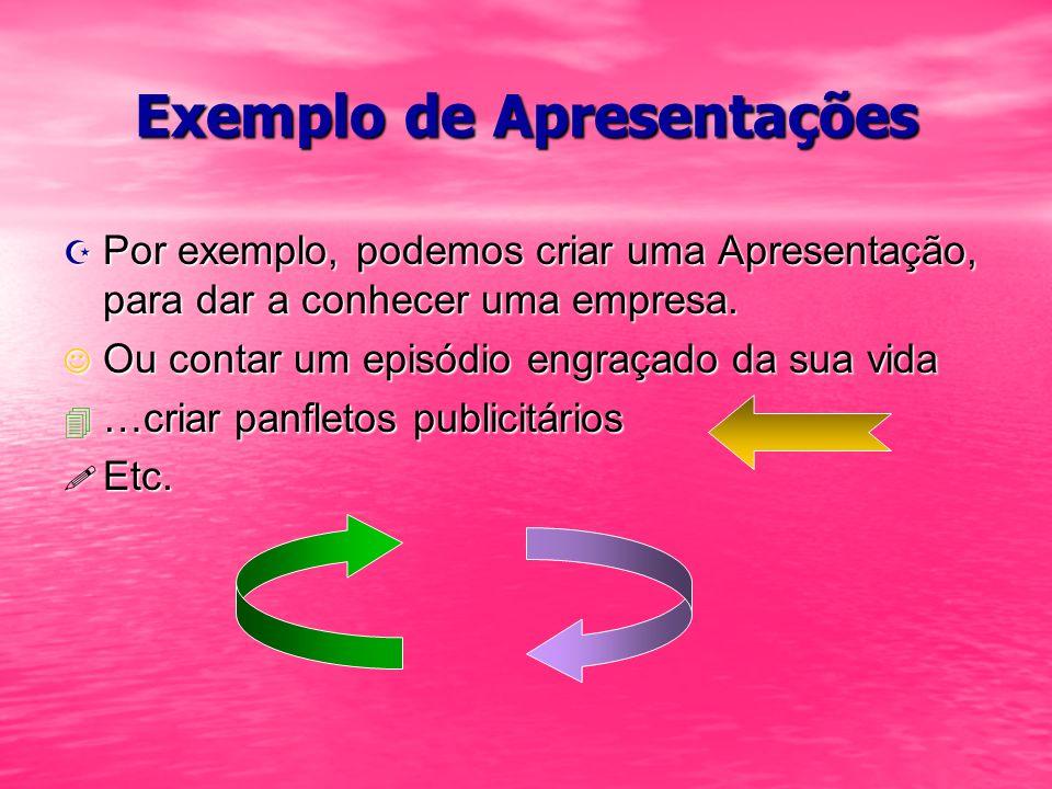 Exemplo de Apresentações
