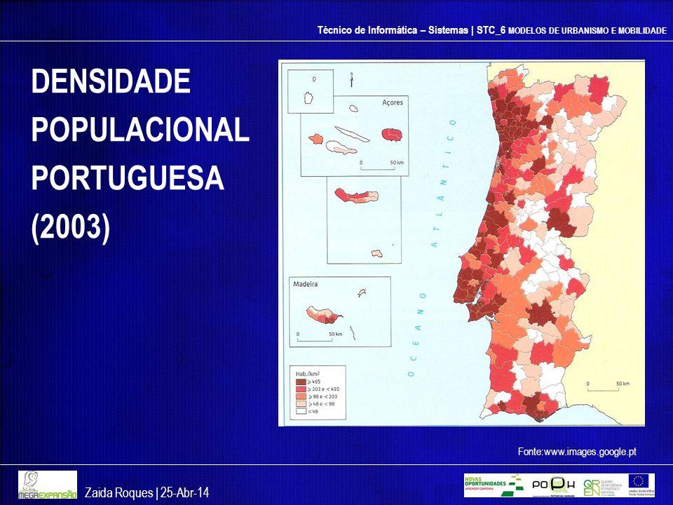 DENSIDADE POPULACIONAL PORTUGUESA (2003) Zaida Roques | 26-mar-17