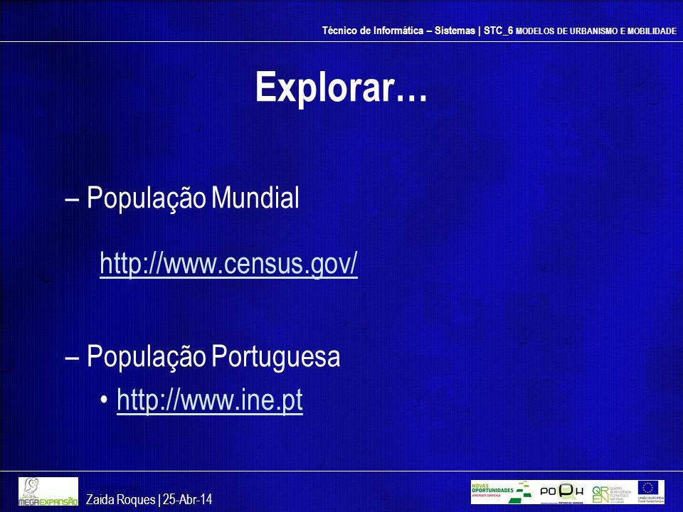 Explorar… População Mundial http://www.census.gov/