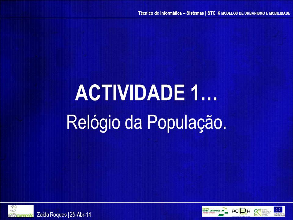 ACTIVIDADE 1… Relógio da População. Zaida Roques | 26-mar-17