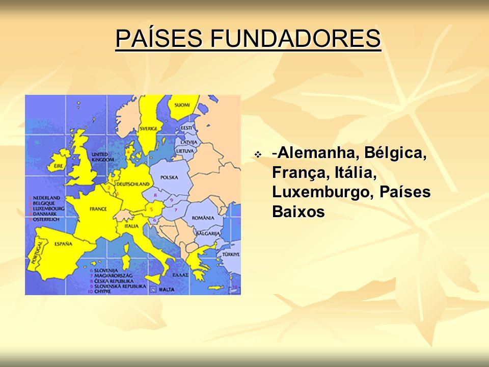 PAÍSES FUNDADORES -Alemanha, Bélgica, França, Itália, Luxemburgo, Países Baixos