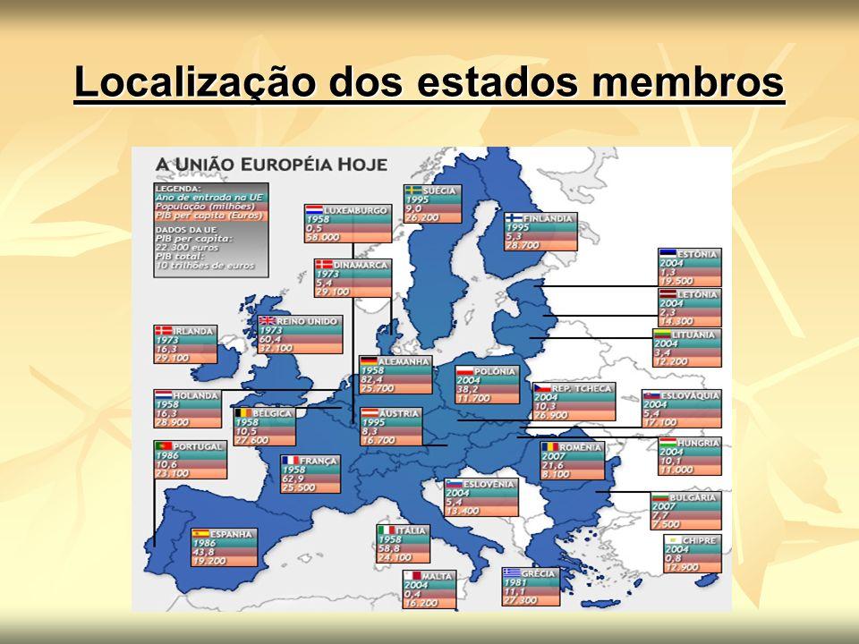 Localização dos estados membros