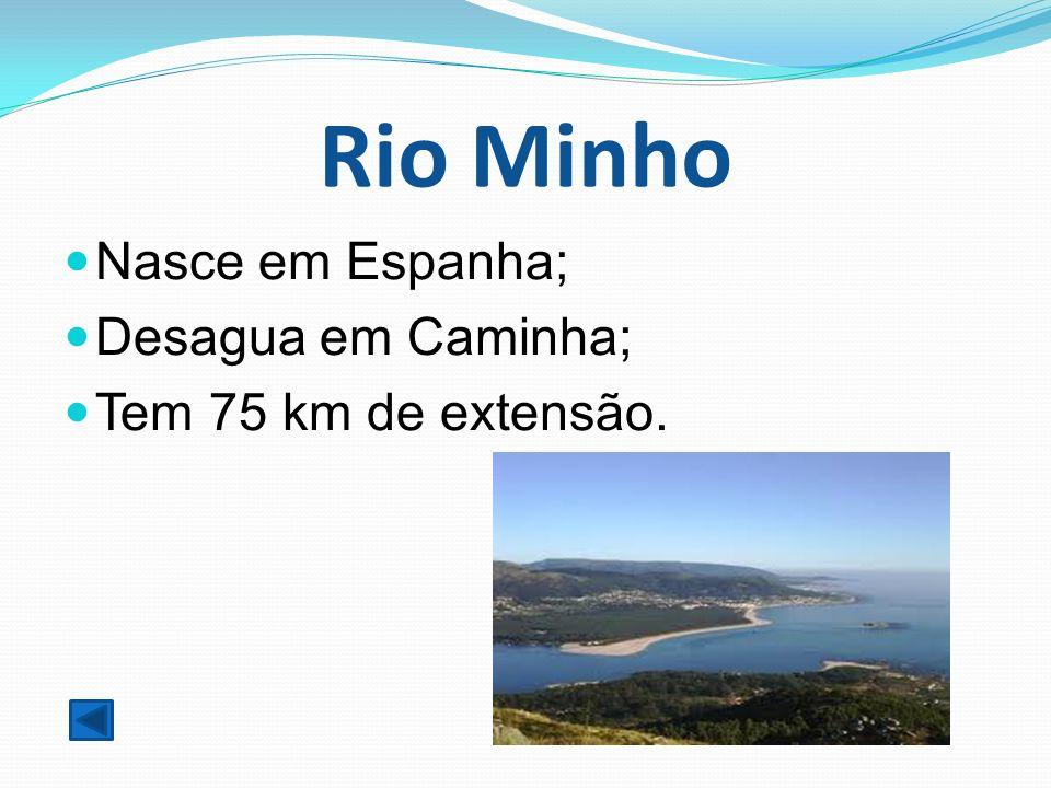 Rio Minho Nasce em Espanha; Desagua em Caminha; Tem 75 km de extensão.