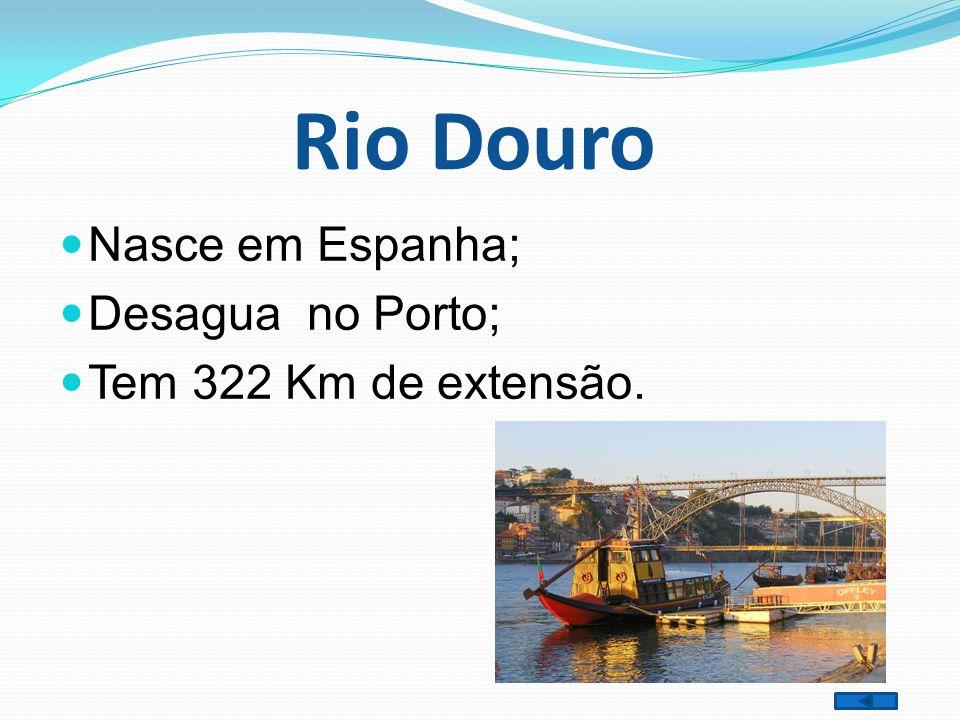 Rio Douro Nasce em Espanha; Desagua no Porto; Tem 322 Km de extensão.