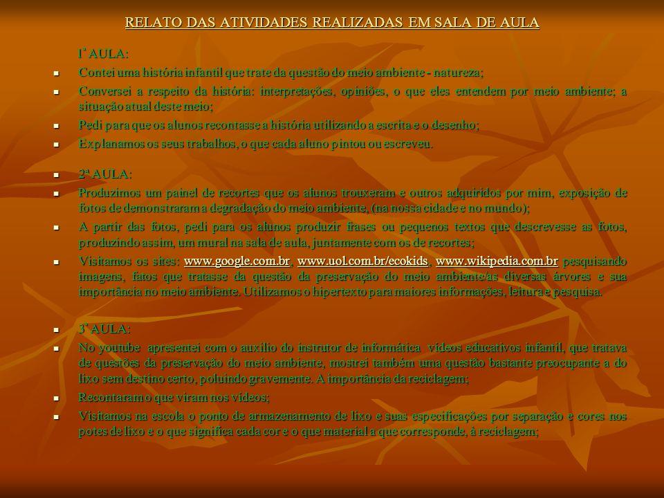 RELATO DAS ATIVIDADES REALIZADAS EM SALA DE AULA