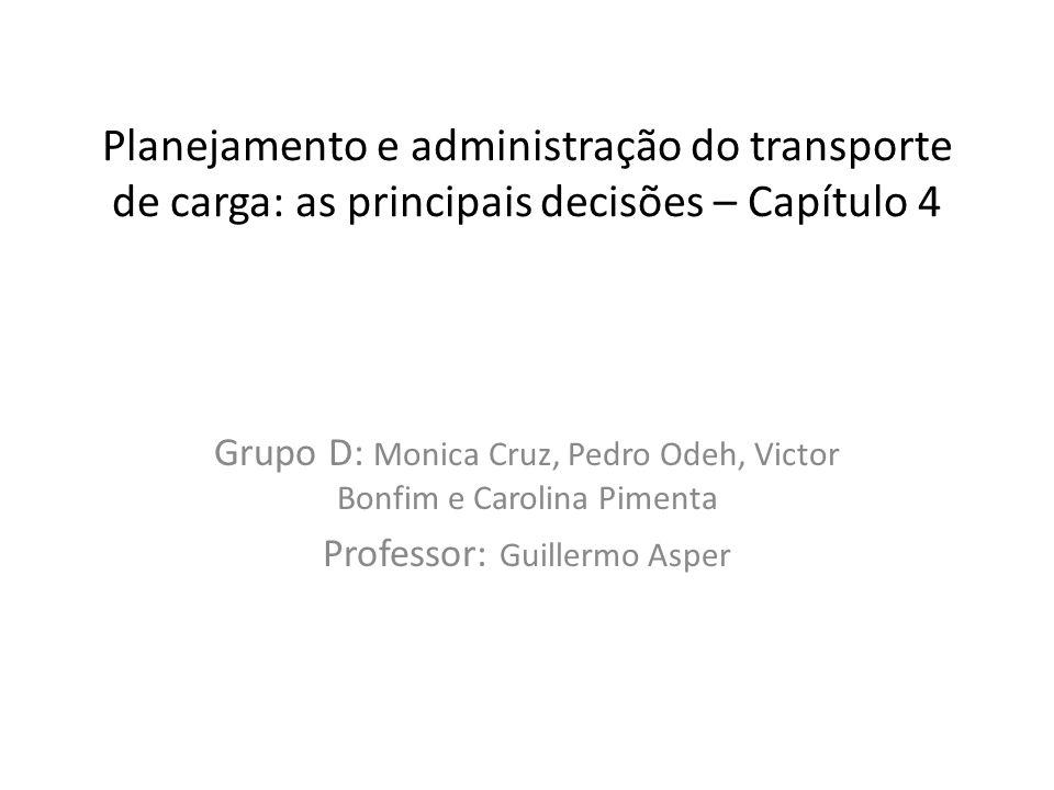 Planejamento e administração do transporte de carga: as principais decisões – Capítulo 4